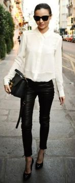 white shirt leather