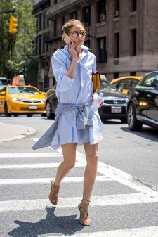 Le-Fashion-Blog-Olivia-Palermo-Street-Style-Mirrored-Sunglasses-Drop-Waist-Blue-Shirtdress-Gingham-Shirt-Nude-Suede-Aquazzura-Sandals