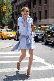 Le-Fashion-Blog-Olivia-Palermo-Street-Style-Mirrored-Sunglasses-Drop-Waist-Blue-Shirtdress-Gingham-Shirt-Nude-Suede-Aquazzura-Sandals