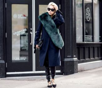 Bloglovin+Blog+Green+Faux+Fur+Stole+Winter+Style+Navy+Blue+Coat+Slouchy+Leather+Leggings+Lace+Up+Flats+Quilted+Chanel+Bag+Bleach+Bob+Hair+Via+Vanessa+Hong+The+Haute+Pursuit